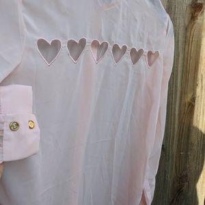 Tops - Pink heart cutout button up